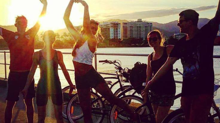 Sunset at the Cairns Marina on your bike riding tour