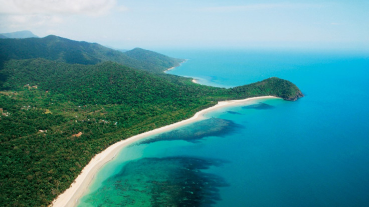 Cairns and Great Barrier Reef aerial view of coastline