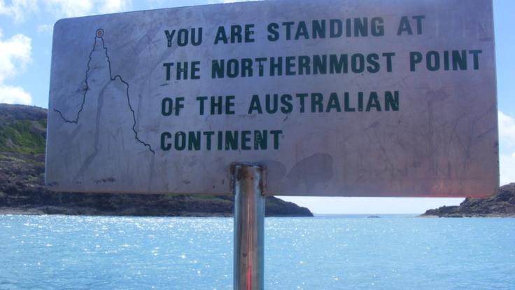 Sign post at the northernmost point of Australia