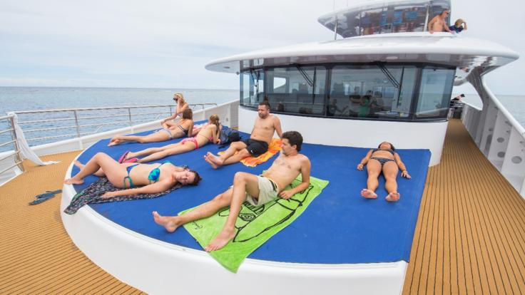 Lounging on the sundeck on the Great Barrier Reef