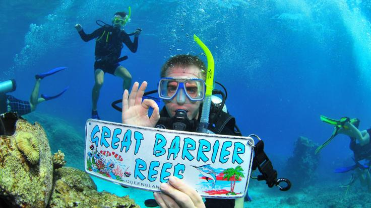 Super underwater selfies on the Great Barrier Reef in Cairns