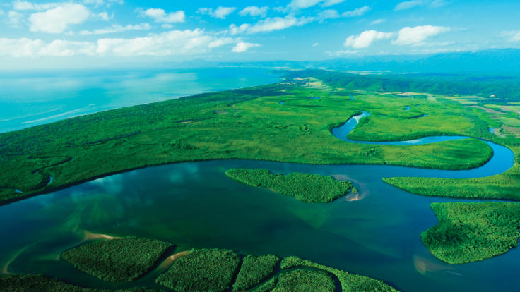 Aerial View of the Daintree River system