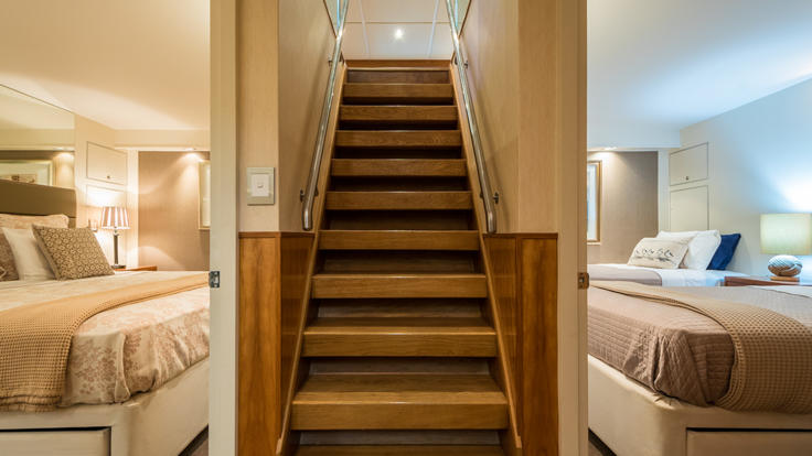 Superyacht charters Australia - Internal view of stairs