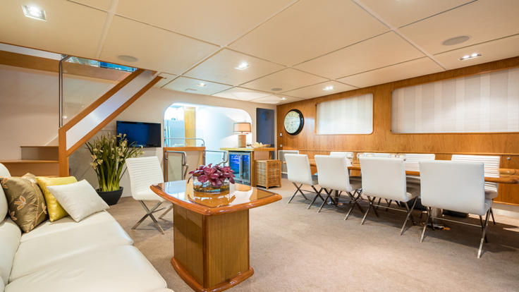 Relax in style onboard in the lounge on your private charter yacht cruising the Great Barrier Reef