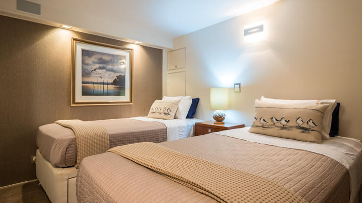 Twin Bedroom onboard your Cairns Private Charter Yacht - Great Barrier Reef - Australia