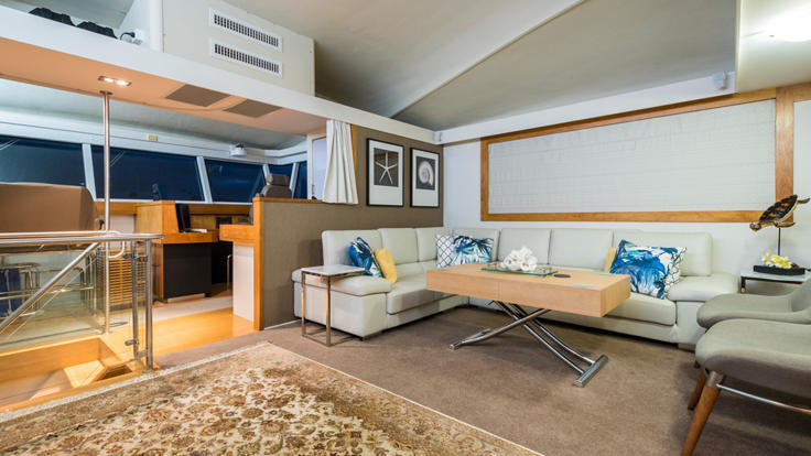 Upper deck relaxation lounge on our Cairns Super Yacht - Great Barrier Reef - Australia