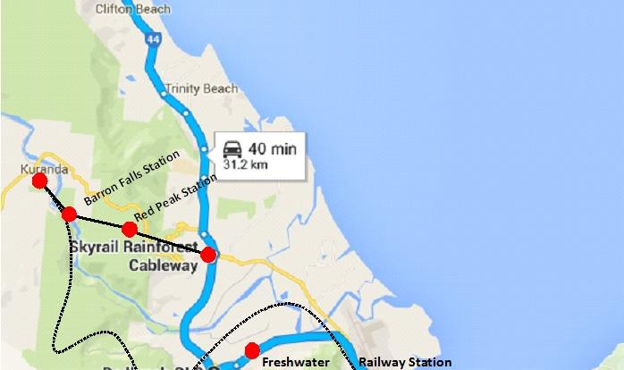 Map of our train jouney to Kuranda Village and road trip to Tjapukai Aboriginal Cultural Park