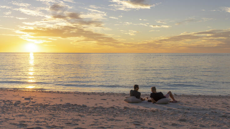 Private Yacht Charters Great Barrier Reef - Sunset Drinks Remote Beach - TEQ