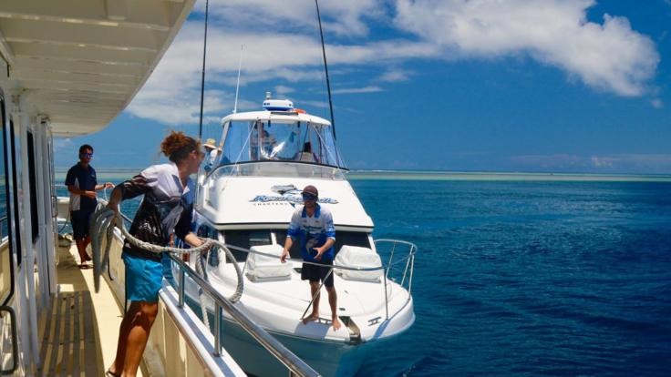 Tender boat available for fishing on liveaboard charter boat on Great Barrier Reef