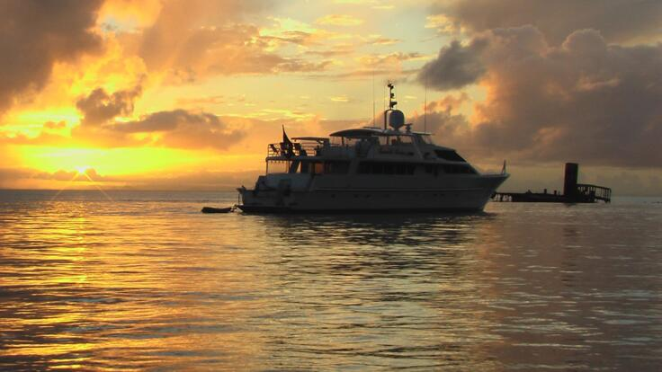 Superyacht Charters Great Barrier Reef - Superyacht at Anchor on Sunset