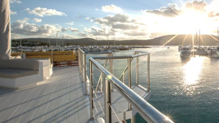 Enjoy the view from the rooftop deck | Hamilton Island dinner cruise
