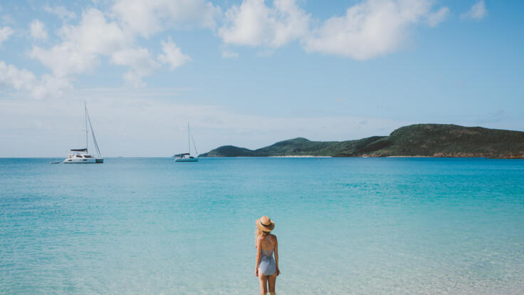 Great Barrier Reef Private Yacht Charter - Hamilton Island Yacht Charter - Girl on Whitehaven Beach