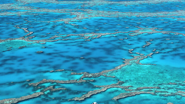 Great Barrier Reef Australia - Aerial View Of the Whitsundays Reefs