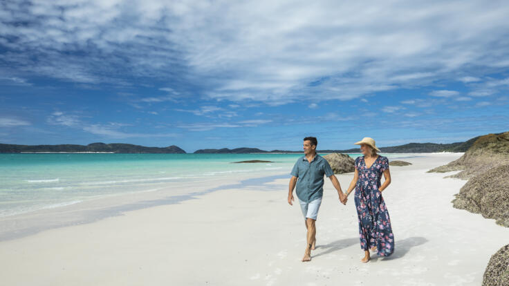 Yacht Charter Whitsunday Islands - Couple On the Beach - Whitehaven Beach