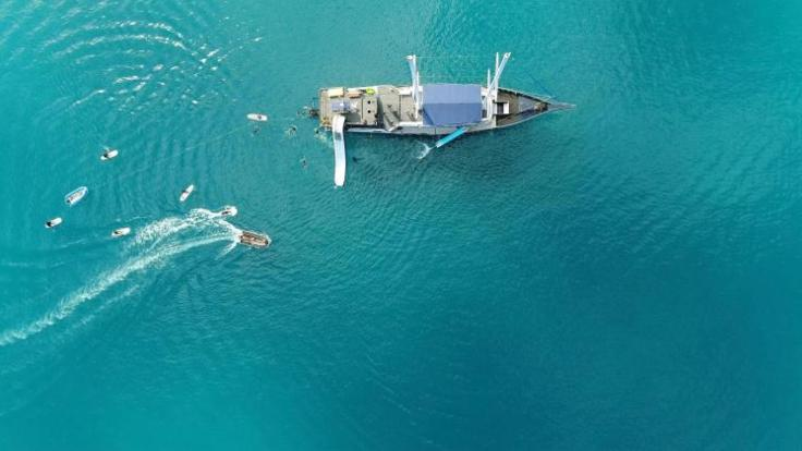 Nice aerial view of our clipper - Whitsundays dive and snorkel tours - Great Barrier Reef