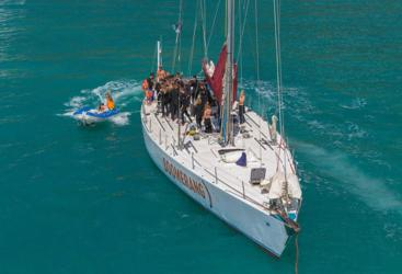 Guests on deck Whitsundays Sail Boat on the Great Barrier Reef