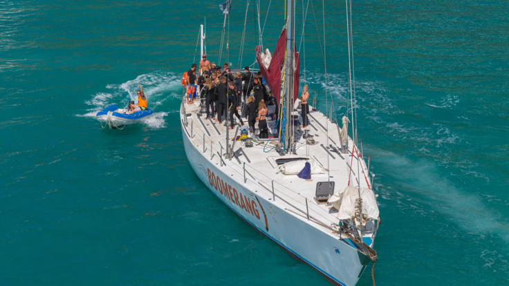 Aerial view of Whitsundays sail boat