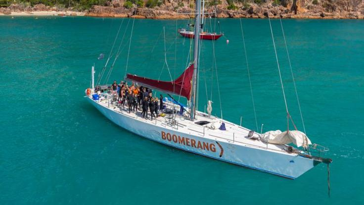 Aerial View of Whitsundays Liveaboard Sailing Yacht - Great Barrier Reef