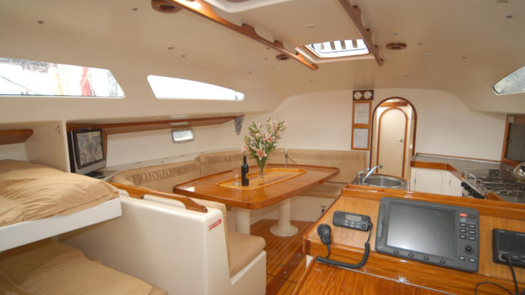 Spacious dining area on the sail boat