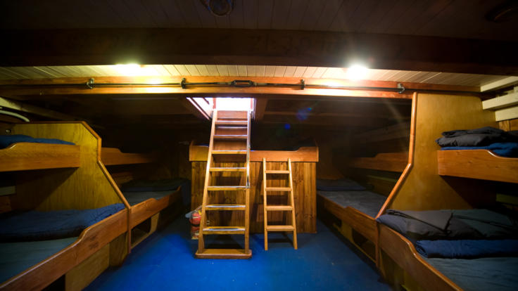 Spacious double and single bunk accommodation - Whitsundays Sailing tours