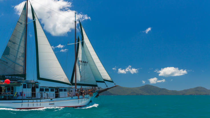 Sailing with old world charm in the Whitsundays on our liveaboard snorkel tours
