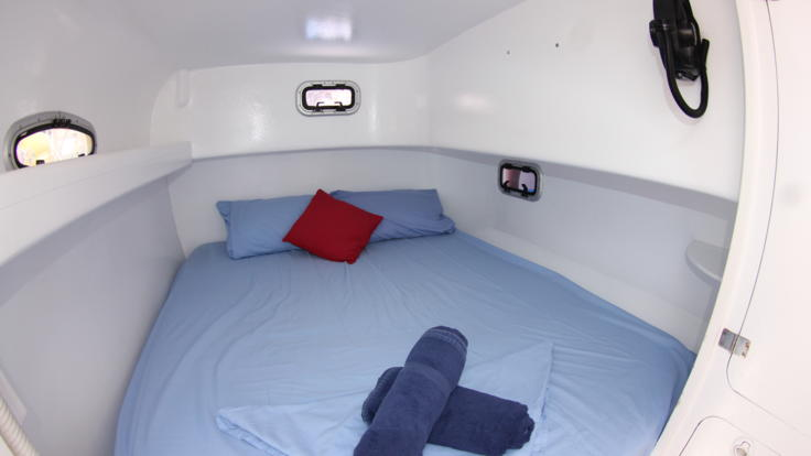 Very comfortable private double cabin accommodation - Wide beam power boat - Whitsunday Islands