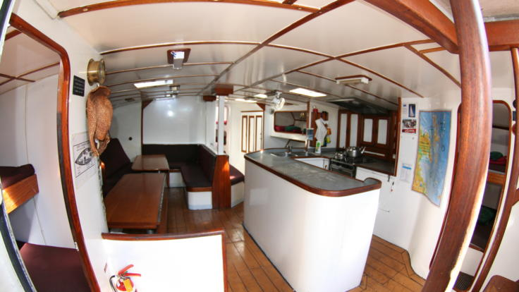 Galley of the liveaboard sailing boat