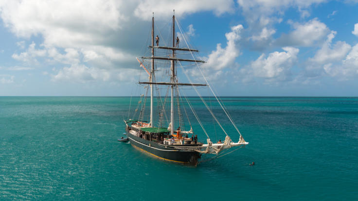 Aerial View of Tallship in the Whitsundays on the Great Barrier Reef