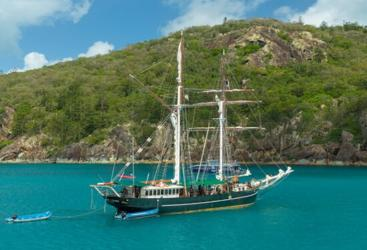 Our Whitsundays shared charter sail boat at anchor in the Whitsunday Islands, Great Barrier Reef, Australia