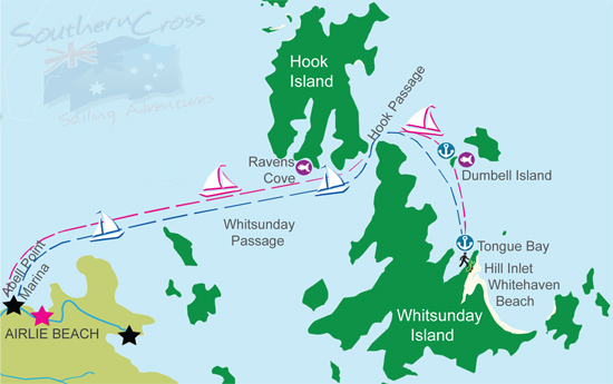 Follow our map to see where we sail in the Whitsundays