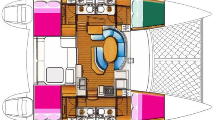 Catamaran accommodation layout - 2 day 2 night Whitsundays Couples Sailing tour