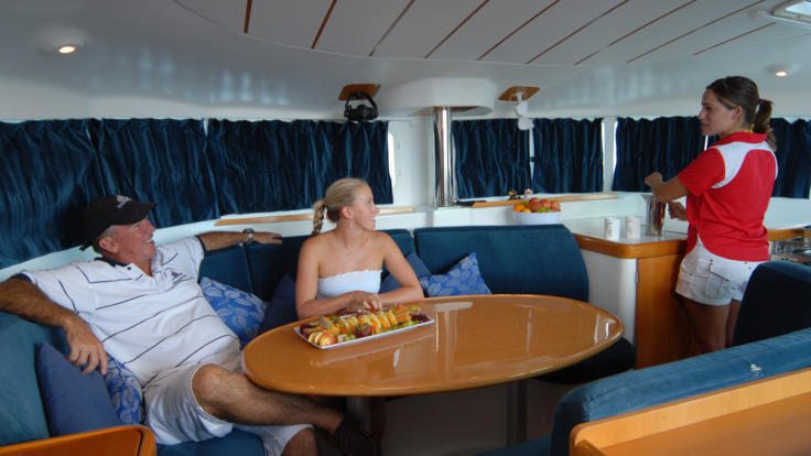 Spacious galley on the sail boat in the Whitsundays