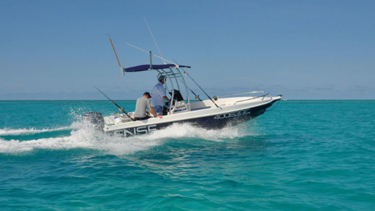 Charter a 3 or 6 metre centre console boat for sports fishing and shore excursions.