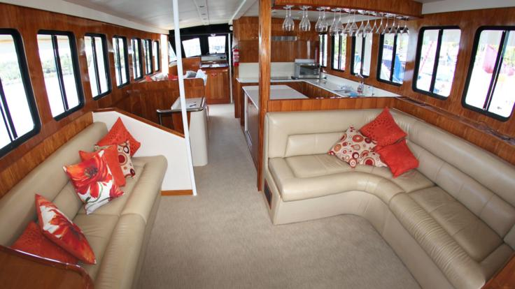 Air-Conditioned Saloon | Great Barrier Reef Luxury Yacht Charter | Australia