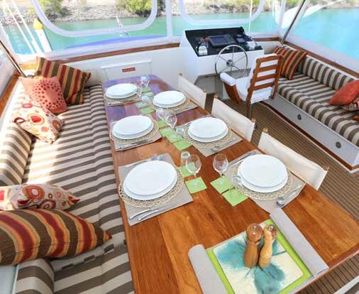 Plenty of space on the upper deck for dining and relaxing.