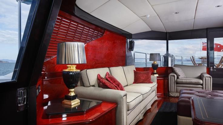 Air-conditioned luxury Versace styled interior of the Port Douglas Superyacht