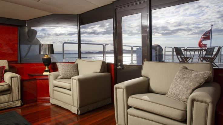 Plush comfortable seating on our Port Douglas based Superyacht