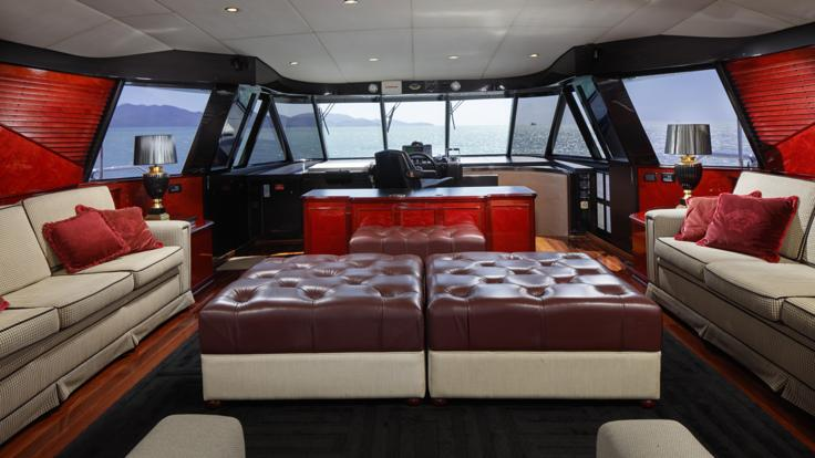 Comfortable air-conditioned interior of Superyacht on the Great Barrier Reef