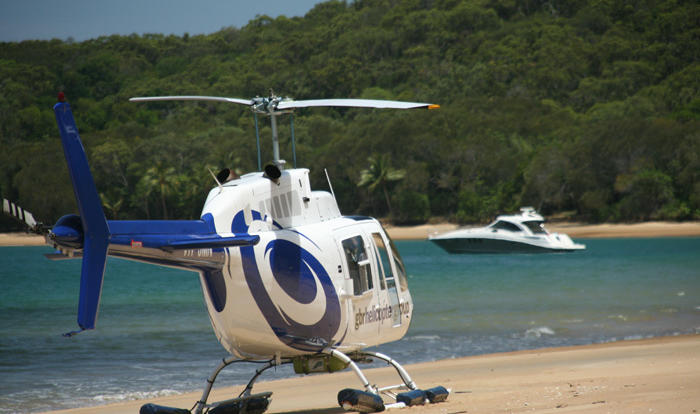 Castaway beach landing on Port Douglas scenic flight