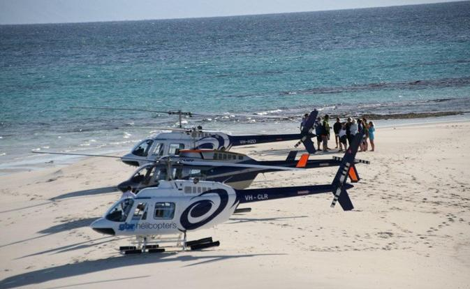 Helicopter Flights Great Barrier Reef:  Luxury Helicopter Fleet on Private Sand Cay