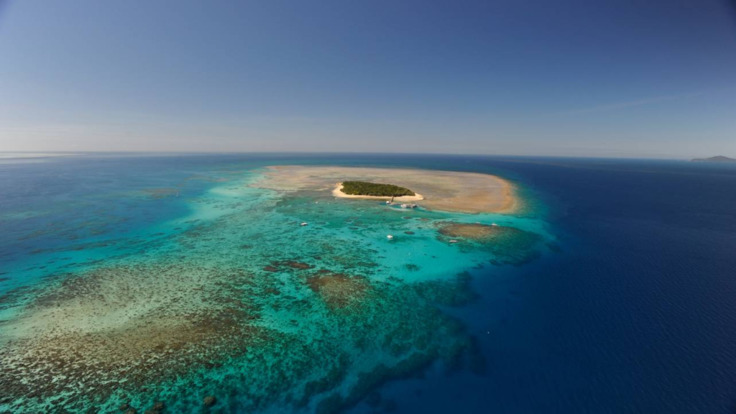 Green Island aerial view from helicopter scenic flight