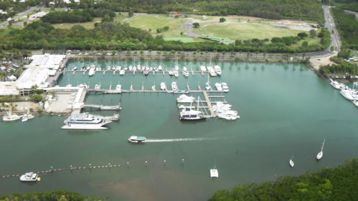 Aerial View Crystalbrook Super Yacht Reef Marina Port Douglas from Helicopter