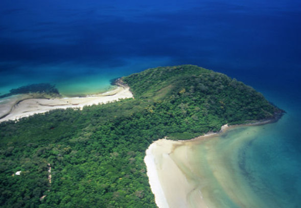 Aerial view of Cape Tribulation coastline