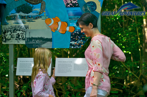 Informative boardwalks about the Great Barrier Reef, Green Island