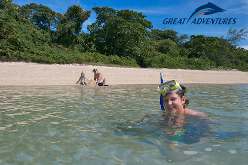 Children snorkelling at Green Island on the Great Barrier Reef