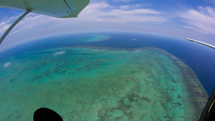 Aerial view of the Great Barrier Reef on scenic flight from Cairns, Australia