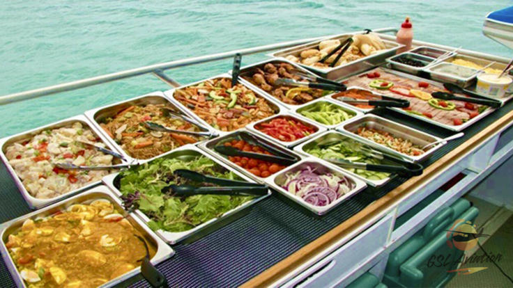 Buffet style lunch included in your Whitsundays Fly/Cruise Great Barrier Reef day trip