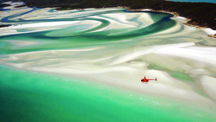 See the swirling sands of Whitehaven Beach in your helicopter - Great Barrier Reef Australia