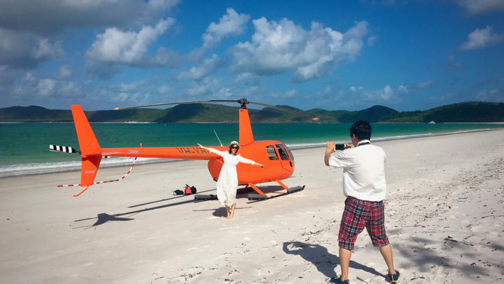 The ultimate Whitsundays helicopter tour - land on Whitehaven Beach - Great Barrier Reef - Australia