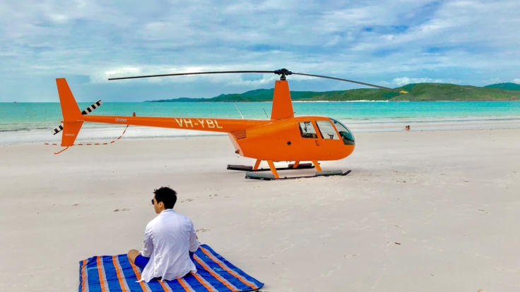 Whitehaven Beach on the Great Barrier Reef in Australia - Perfect place to park your helicopter